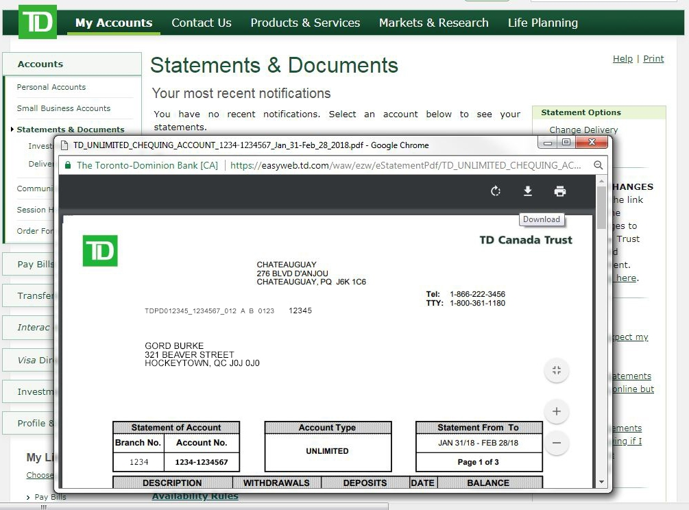 TD Bank Statement Instructions – Help Center