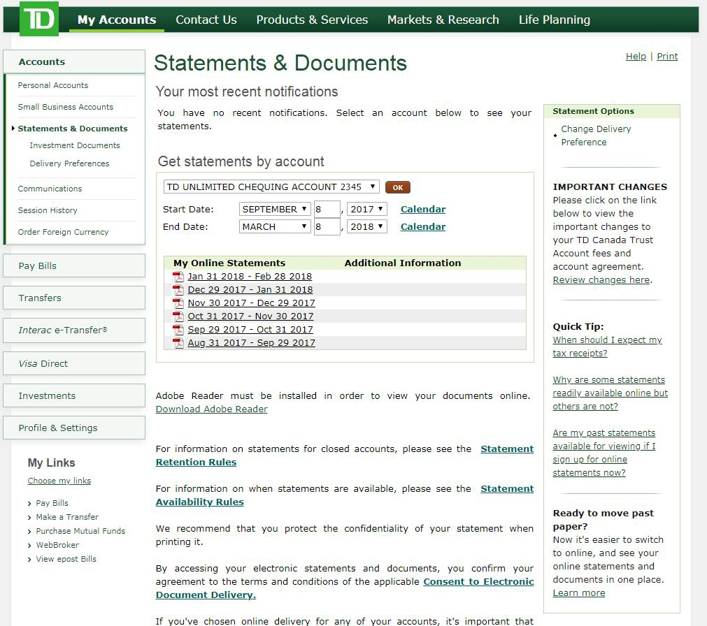 Td Bank Statement Instructions Help Center