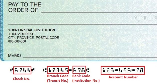 The Bank Code Insution Number Is 3 Digits Branch Transit 5 And Account Usually 7 Sometimes More